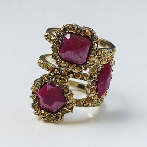 Ring gold pink mauve crystals Jessica Simpson